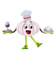 garlic cooking on white background vector image vector image