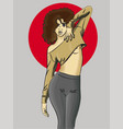 girl with brown hair posing eps 8 vector image vector image