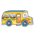 grated vehicle school bus education transportation vector image