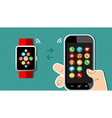 Hand holding mobile phone and smart watch design vector image vector image