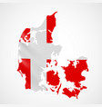 hanging denmark flag in form map kingdom of vector image vector image