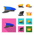 isolated object of headgear and cap icon vector image vector image