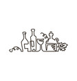 line icon bottles of wine with grape leaves vector image vector image