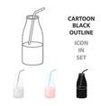liquid yogurt icon cartoon single bio eco vector image