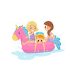 little kids swimming at sea on pink inflatable vector image vector image