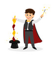 magician with hat and magic wand vector image vector image