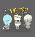 main electric lighting types hand vector image