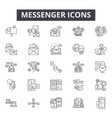 messenger line icons signs set outline vector image vector image