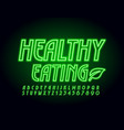 neon sign healthy eating with glowing font vector image