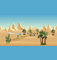 oasis in desert with bedouin camp landscape vector image