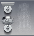 realistic shower metal heads and trickles of water vector image vector image