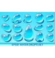realistic water drops set useful for aqua icons vector image vector image