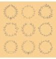 set 9 hand drawn wreaths vector image vector image