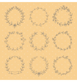 Set of 9 hand drawn wreaths vector image vector image