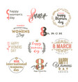 set womens day logo emblems or signs vector image vector image