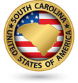 South Carolina state gold label with state map vector image vector image