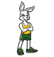sporty rabbit mascot wearing sport shoes vector image