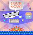 Summer time purple infographic with book now text vector image vector image