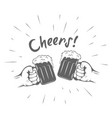 two hands with thumbs up symbol icon cold beer vector image vector image