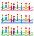vector rows of birthday candles on cake vector image vector image