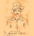 vintage india background with nation hero and vector image vector image