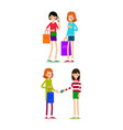 woman with shopping bags young girls standing vector image