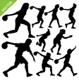 Women palying bowling silhouettes vector image