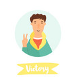 young man showing victory symbol vector image vector image