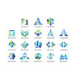 abstract logo design set crystal gem geometric vector image