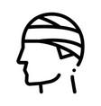 bandaged head man silhouette headache icon vector image
