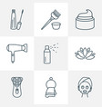 barbershop icons line style set with cream vector image