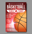 basketball poster sport event announcement vector image vector image