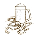 Beer glass and shrimps vector image vector image