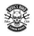 biker club emblem with devil skull and tridents vector image