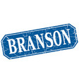 branson blue square grunge retro style sign vector image vector image