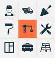 building icons set with tower crane wall painter vector image