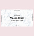 Business card template with pink and gray marble vector image