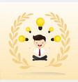businessman sitting meditation with light bulb vector image vector image