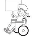 Cartoon girl in a wheel chair holding a sign vector image vector image