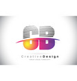 cb c b letter logo design with creative lines and vector image vector image
