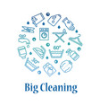 cleaning icons round concept housework washing vector image vector image