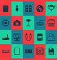 computer icons set with central processor unit vector image vector image