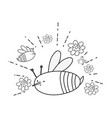 cute and little bees with flowers garden vector image