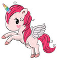 cute cartoon unicorn on a white background vector image vector image