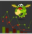 cute green monster with bitcoin coin vector image