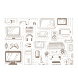 electronic handdrawn gadgets sketches set devices vector image
