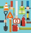 emergency car equipment design flat set vector image vector image
