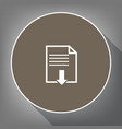 file download sign white icon on brown vector image vector image