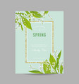 floral spring design template with golden frame vector image vector image