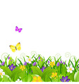 Flowers With Grass With Butterfly vector image vector image